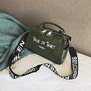 Adebie - Women Shoulder Messenger Bag Boston Handbag Fashion Letter Printing Halloween Tote Bags Wide Strap Crossbody Bag for Women Sac 22cm12cm16cm Green []
