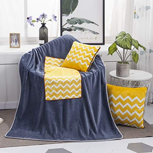 Pillows Blue Hello Pattern Multifunctional Plush Blanket Square Pillow Quilt Office Car Pillow Cushion, Size : L Asun