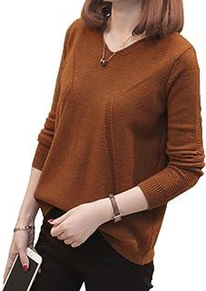 [ジョプリンアンドコー] 7カラー 透かし柄 後ろボタン ニット シンプル vネック 長袖 レディース