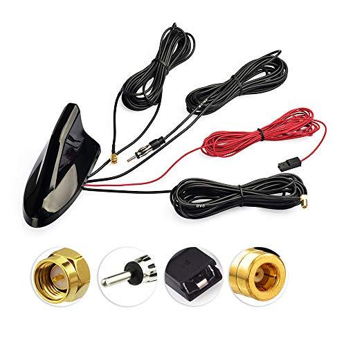 Eightwood DAB/DAB+ Antenne Autoradio Antennensplitter AM/FM GPS Dachantenne Signal Amplifier Von KFZ Haifischflosse Antenne SMB Stecker Fakra Adapter mit Extension Kabel RG174 5m MEHRWEG