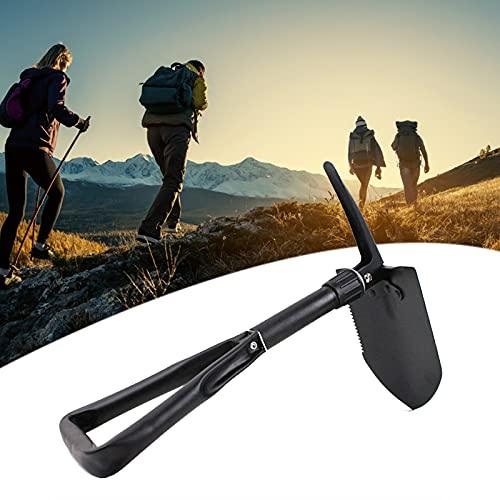 Pala plegable de acero multifuncional plegable para camping y montañismo, se puede utilizar como pala y pico para camping, senderismo, trekking