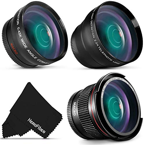 58mm Lens Attachment Kit Includes: Wide-Angle and 2X Telephoto Zoom Lenses, Fisheye Lens for Canon Rebel T8i T7 T7i T6i T6S T6 T5i T5 T4i T3i T2i SL3 SL2 EOS 90D 80D 77D 70D 60D 760D 750D DSLR Camera