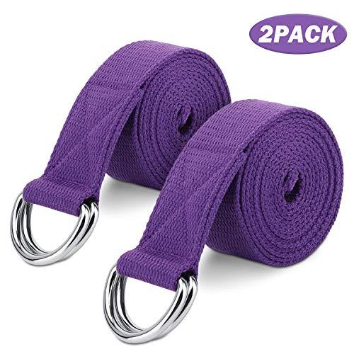MoKo Yoga Correa - [2 Pzs] Durable Algodón Suave de Estiramiento Fitness Ejercicio Físico Band con D-Ring Metal & Strap Belt 6ft para Mejora de la Flexibilidad, Terapia Física, Pilates y Postura, Morado