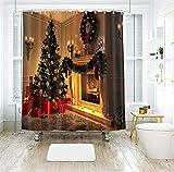 Dreamdge Duschvorhang Weihnachten 180x180 Gelbgrün, Duschvorhang Weihnachtsdekoration Weihnachtsbaum Weihnachtskranz