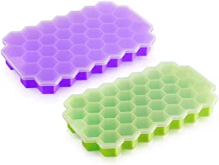 NIBEMINENT Silicone Ice Cube Trays Easy-Release and Flexible Ice Trays with Spill-Resistant Removable Lid BPa Free, Stacka...