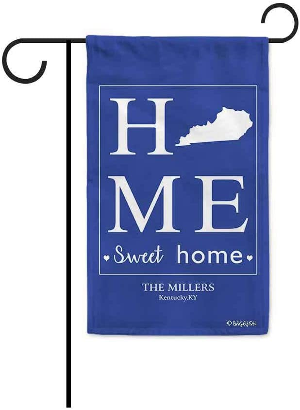 BAGEYOU Home Sweet Home Kentucky Garden Flag Blue Personalized Yard Banner Housewarming Gifts 12.5X18 Inch Print Both Sides