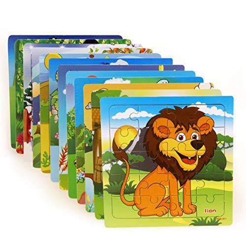 RUIXI Pequeños puzle para niños, 20 piezas, animales del bosque, bebés de 2 a 3 a 4 años, con una tarjeta básica para participar en los juguetes del rompecabezas.