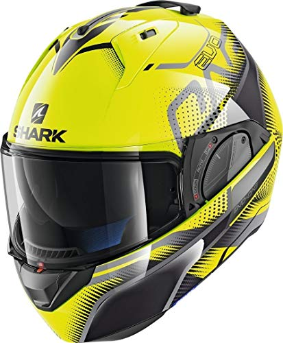Casco modular amarillo decorado de SHARK