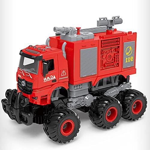 ZDYHBFE Camión de bomberos a control remoto RC, simulación de rescate grande, vehículo de saneamiento de 2.4G con pulverización de agua, automóvil mecánico extraíble, colisión de control remoto, defor