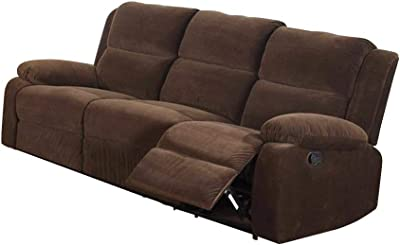 Benjara Benzara Traditional Style Three Seater Recliner Sofa, Dark Brown