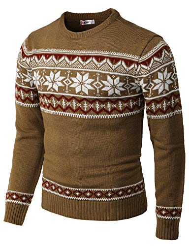 H2H Mens Casual Slim Fit Knitted Crew Neck Sweaters Thermal of Various Christmas Pattern Beige US XL/Asia 2XL (CMOSWL053)