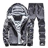 DEATU Men's Fleece Lined Hoodies Jackets 2 Piece Tracksuit Set Warm Sweatsuits Casual Comfy Sweatshirt Jogger Sweatpants (Dark Gray,Large)
