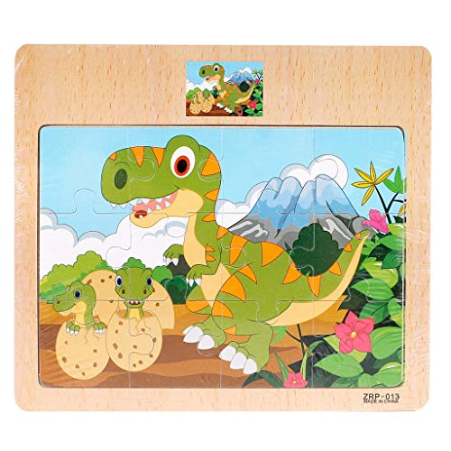 Vobery Wooden Puzzle, Building Block Puzzle Toy, Animal Traffic Cognitive Early Education Learning Puzzle Toys Deal, Kids Intellectual Development