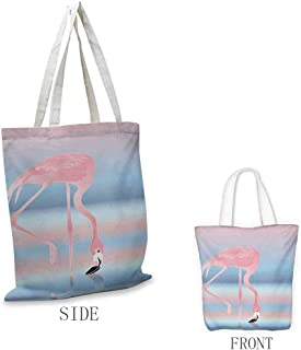 Flamingo Shopping bags can be reused Illustration of Royal Flamingo in the Lake Soft Pale with Romantic Colors Art Work Used as a grocery bag in the market W15.75 x L17.71 Inch Pink Blue