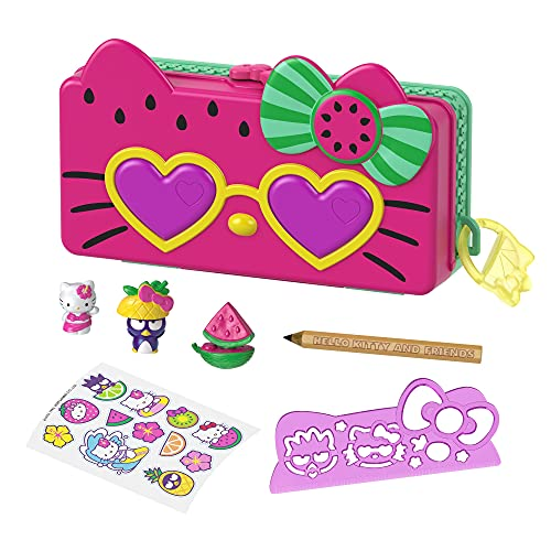 Mattel Hello Kitty and Friends Minis Watermelon Beach Party Pencil Case Playset (7.5-in) with 2 Sanrio Figures and Stationery Supplies, Great Gift for Kids Ages 4Y+