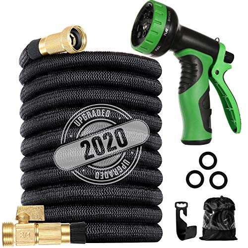 """LINQUO 200 ft Flexible and Expandable Garden Hose - Strongest Triple Latex Core with 3/4"""" Solid Brass Fittings Free 9 Function Spray Nozzle, Easy Storage Kink Free Water Hose"""