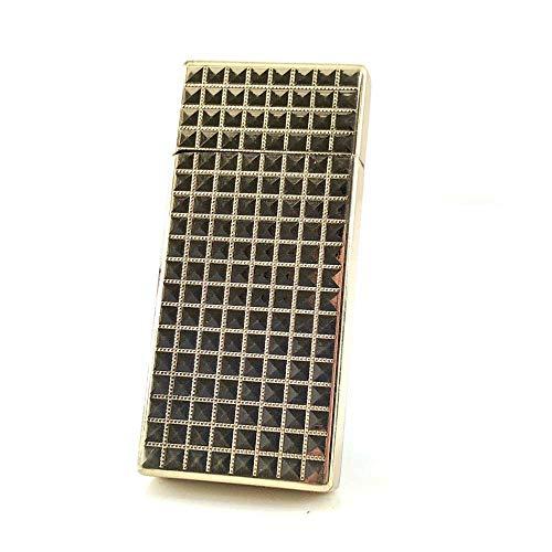 【C409】Chequered/チェカード ガスライター ゴールド/金 Deloovaブランドカード付き チェック 格子柄 高級感 [並行輸入品]