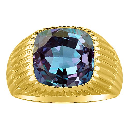 RYLOS Anillos para hombre de oro amarillo de 14 quilates, anillo de alejandrita simulada para hombre, joyería de oro