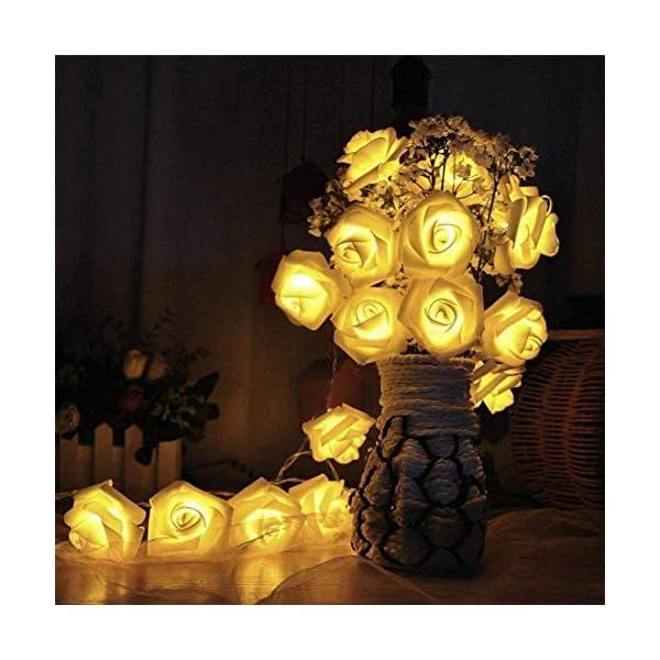 JZK 2M guirnalda de luces LED rosas flores luces cadena de pilas para decoración San Valentín bodas comuniones navidad…