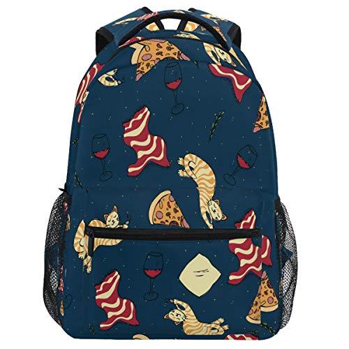 Oarencol - Mochila para llevar a la escuela, diseño de gatos, pizza, copas de vino