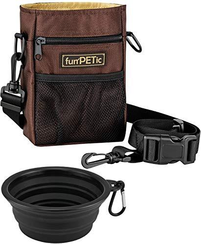 funPETic Futterbeutel + Faltbarer Napf aus Silikon, Leckerlie Beutel - Futtertasche mit 4 Fächern & Tragevarianten, gratis Karabiner, Leckerlibeutel für Hundetraining, Leckerlitasche auch für Pferde