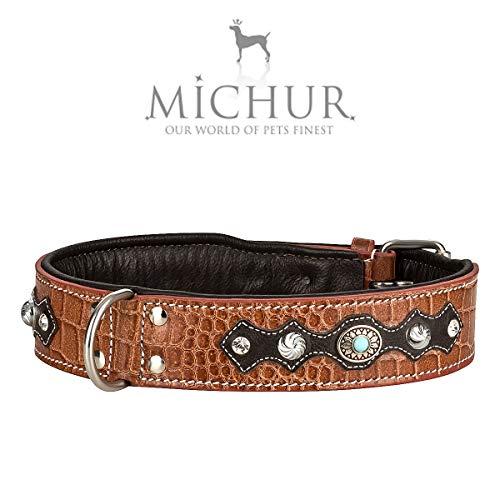 MICHUR Lakota Hundehalsband Leder, Lederhalsband Hund, Halsband, BRAUN, Leder, Blaue Steine MIT RUNDNIETEN, in verschiedenen Größen erhältlich