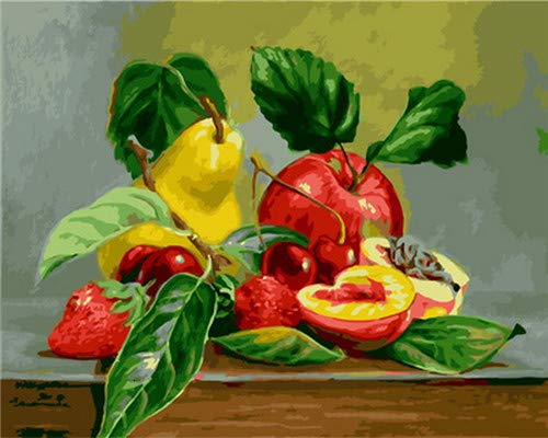 Zhonchng Rote Frucht Apfelbirne 50*40cm Gerahmt Digitales Ölgemälde Leinwand DIY Farbe Kit Pinsel Kunst Dekoration Digitale Zeichnung handgemachte Kreation Handwerk Cartoon Landschaft Tierfiguren