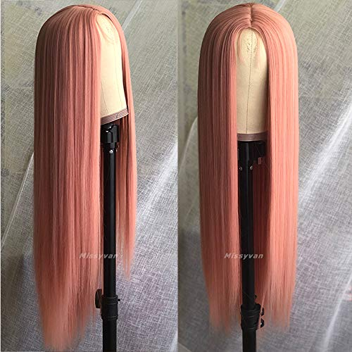 Missyvan Long Straight Hair Purple Color Lace Wigs Glueless Heat Resistant Fiber Hair Synthetic Lace Front Wigs for Fashion Women