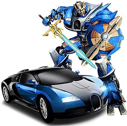 Waqihreu 34CM Coche de Control Remoto Bugatti deformación 2.4Ghz Estilo Veyron Control Remoto Coche Recargable con Habla a la Deriva One Touch Transform Autobot Robot Sound FX Lights