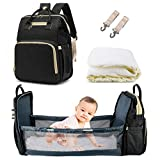 3 in 1 Diaper Bag Backpack,Large Capacity Waterproof Travel Nappy Bag,Multifunctional Foldable Baby Crib Changing Table. (Black)