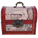 Atyhao Caja de Madera Vintage con Cerradura, Caja de Cofre del Tesoro de Estilo Europeo, Organizador de joyería, Accesorio fotográfico, Adornos de Escritorio(Caja de almacenaje)