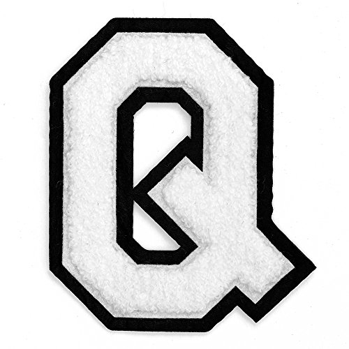 """Letter Q - Chenille Stitch Varsity Iron-On Patch by pc, 4-1/2"""", White/Black, TR-11648"""