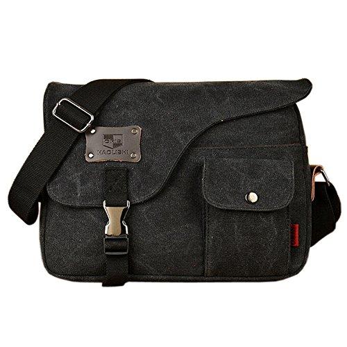 Owbb Retro Herren Boy Leinwand Umhängetasche Rucksack Größe:31 * 23 * 7cm (BDJM-04) +2 gratis Geschenke