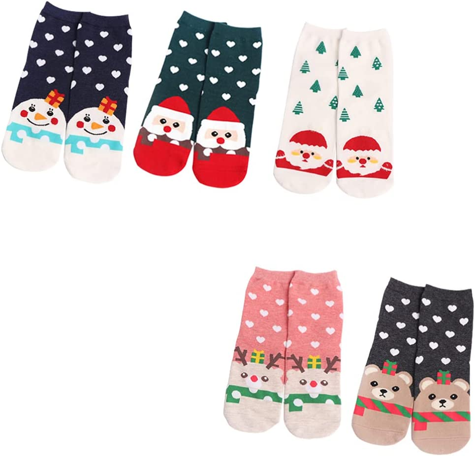 Happyyami 5Pairs Christmas Socks Xmas Casual Ankle Socks Unisex Christmas Holiday Winter Warm Cotton Crew Socks Winter Slipper Socks for Boys Girls Men Women