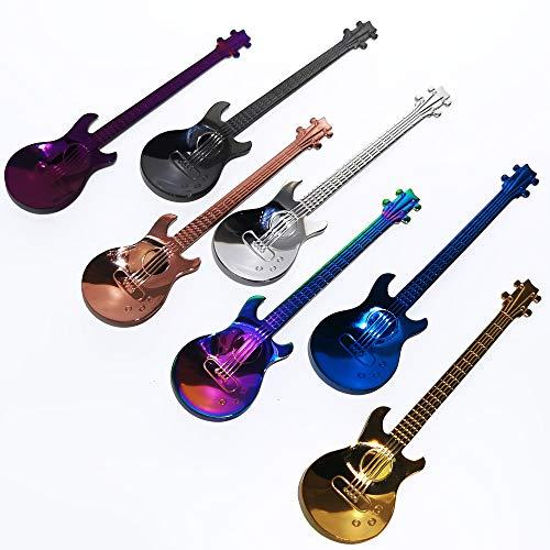 Cucharillas de Cafe de la Guitarra, 7pzs Cucharas de Cafe Musicales Coloridas de Acero Inoxidable Cucharaditas Cuchara de Mezcla Cuchara de Azucar