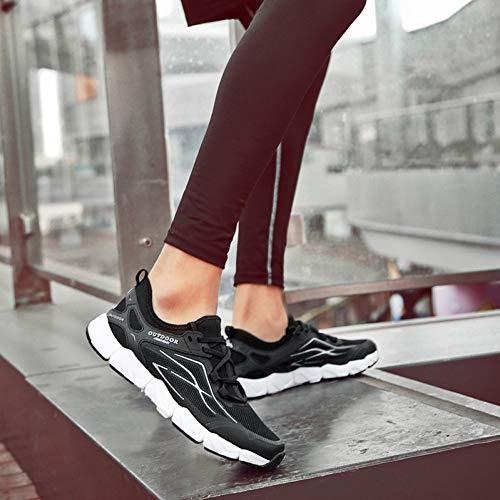 XJWDNX Hombres/Mujeres Zapatos de Trekking de Gran Tamaño Antideslizante Elástica Zapatillas Tácticas Para Pareja Verano Transpirable Hueco Zapatos de Senderismo, negro, 42