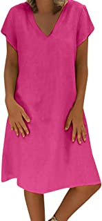 Ladies Summer Solid Color Comfortable Linen Short Sleeve Dress Loose Casual Plus Size Dress