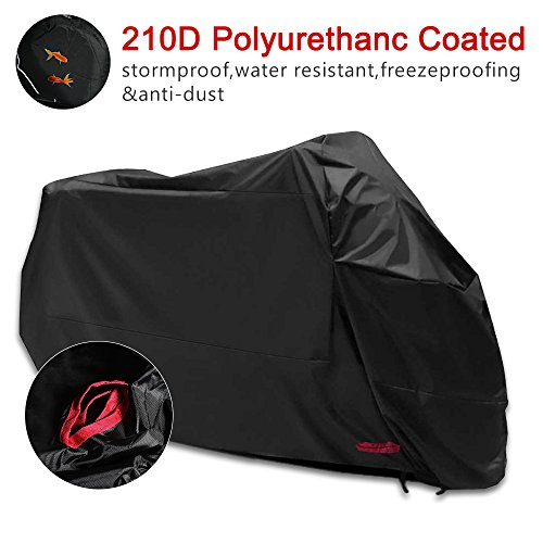 Funda para Moto 210D Funda Protector Cubierta de moto Impermeable a Prueba de Polvo Protector UV con Agujeros de Bloqueo Cubierta Contra Viento Negro (245*105 * 125CM)