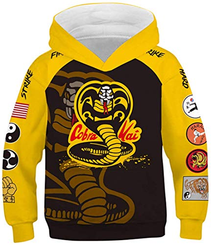 LUCKYWE Girls' Novelty Hoodie 3D Print Hooded Sweatshirt Unicorn Galaxy Pullover Cobra Kai 125-130cm/Tag S