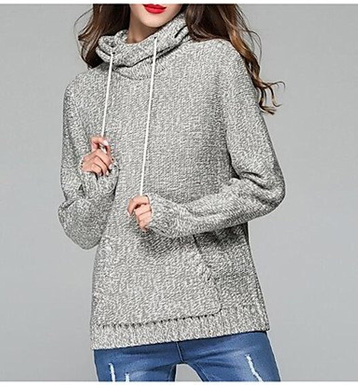 BaiChunYunYi Normal Women's Casual Daily Single Full Colour Full Hood Long Sleeves Acrylic Autumn Winter Thick Micro Elastic
