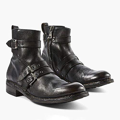 DIQIU Herren Motorradstiefel Motorradfahrer Schuhe, Square Toe Western Cowboystiefel Reiten Knight Boots Pull-on Leder Wanderstiefel,Black-37