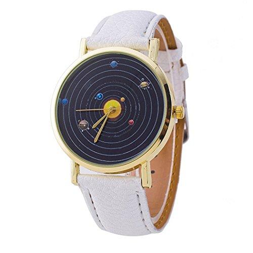 Vavna Solar System Montage Unisex Leather Quartz Watch - White