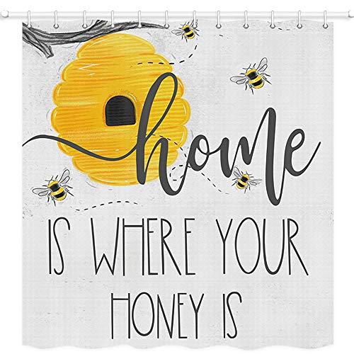 JAWO Bee Happy Duschvorhang, Home is Where Your Honey is, Polyestergewebe Badvorhänge mit Haken, 175,9 x 177,8 cm