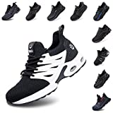 Zapatos De Seguridad Hombre Mujer Ligeros Transpirables Trabajo Punta De Acero Antideslizantes Reflexivo Zapatillas Negro-Blanco 46 EU