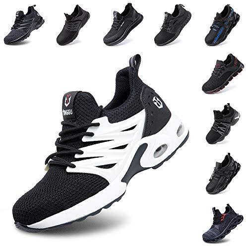 Hitmars Sicherheitsschuhe Herren Damen S3 Arbeitsschuhe Leicht Atmungsaktiv Sportlich Schuhe Stahlkappe Mesh Reflektierend Sneaker Schwarz-Weiß 43 EU
