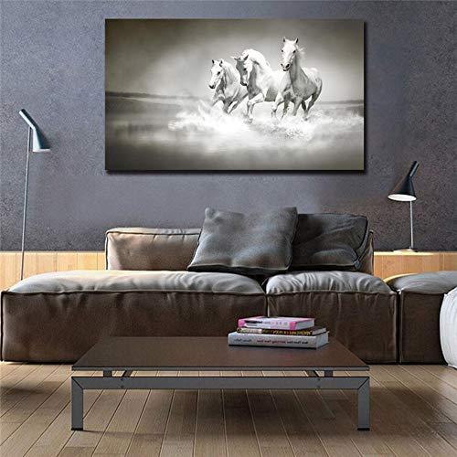 HANTAODG Leinwanddruck Drucken White Horse Running Leinwand Malerei Wandkunst Poster Billige Malerei Dekor 50Cmx70Cm