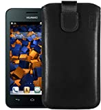 mumbi Echt Ledertasche kompatibel mit Huawei Ascend Y330 Hülle Leder Tasche Hülle Wallet, schwarz