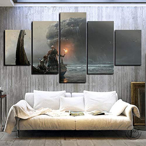 VENDISART,Impresiones sobre Lienzo,Modular Decoración De Pared Póster,5 Piezas Cuadro,God of War 4 Videojuegos Kratos,con Marco,Talla:150 * 80Cm