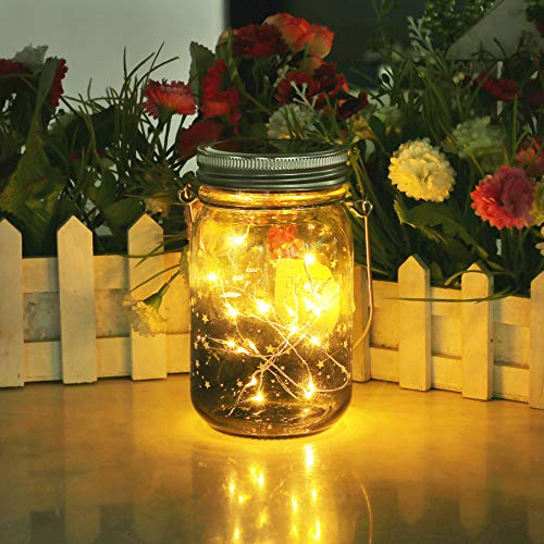 Star Solar Garden Lights - Mason Jar Lights - Led Water Proof Outdoor Fairy Lights,Hanging Lantern for Garden, Courtyard, Wedding, Party, Bar, Cafe,Christmas,Wall,Table,Tree,Fence, etc.