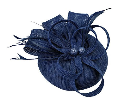 Ahugehome Fascinator Headband Hair Clip Feather Pillbox Hat Mesh Cocktail Party Wedding (KF Dark Navy Blue)